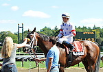 8.27.10 Trickmeister after winning the Pleasant Colony Stakes with jockey Garret Gomez up