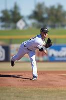 Peoria Javelinas starting pitcher Bubba Derby (12), of the Milwaukee Brewers organization, follows through on his delivery during an Arizona Fall League game against the Scottsdale Scorpions at Peoria Sports Complex on November 15, 2018 in Mesa, Arizona. Peoria defeated Scottsdale 2-1. (Zachary Lucy/Four Seam Images)