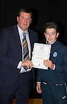 St Johnstone FC Academy Awards Night...06.04.15  Perth Concert Hall<br /> Tommy Wright presents a certificate to Patrick Brown<br /> Picture by Graeme Hart.<br /> Copyright Perthshire Picture Agency<br /> Tel: 01738 623350  Mobile: 07990 594431