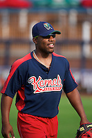 Cedar Rapids Kernels outfielder Chevy Clarke #8 during practice before a game against the Quad Cities River Bandits at Modern Woodmen Park on June 30, 2012 in Davenport, Illinois.  Quad Cities defeated Davenport 8-7.  (Mike Janes/Four Seam Images)