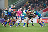 Chris Robshaw of Harlequins is tackled by Kieran Marmion (left) and Johnny O'Connor of Connacht Rugby during the Heineken Cup match between Harlequins and Connacht Rugby at The Twickenham Stoop on Saturday 12th January 2013 (Photo by Rob Munro).
