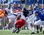 BROOKINGS, SD - MARCH 13: Logan Backhaus #12 of the South Dakota State Jackrabbits brings down Jaleel McLaughlin #8 of the Youngstown State Penguins at Dana J. Dykhouse Stadium on March 13, 2021 in Brookings, South Dakota. (Photo by Dave Eggen/Inertia)