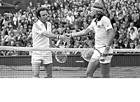 1978, England, London, Tennis, Wimbledon, Bjorn Borg (SWE)(R)  defeats Tom Okker (NED) and receives congrats.