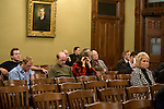 Aaron Barnhart and Diane Eickhoff, center, were two members of the audience during the third day of House impeachment committee hearings for Gov. Rod Blagojevich at the Illinois State Capitol in Springfield, Ill., Thursday, Dec. 18, 2008. .Kristen Schmid Schurter
