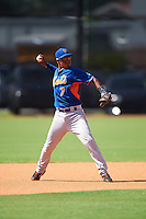 GCL Mets shortstop Angel Manzanarez (7) throws to first during the first game of a doubleheader against the GCL Astros on August 5, 2016 at Osceola County Stadium Complex in Kissimmee, Florida.  GCL Astros defeated the GCL Mets 4-1 in the continuation of a game started on July 21st and postponed due to inclement weather.  (Mike Janes/Four Seam Images)