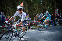 World Champion Michal Kwiatkowski (POL/Etixx-Quickstep) cornering on top of the Côte de Stockeu (2300m/9.9%)<br /> <br /> 101th Liège-Bastogne-Liège 2015