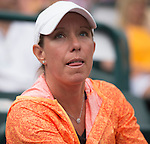 Lisa Raymond watches as Madison Keys (USA) loses to Angelique Kerber the final at Family Circle Cup in Charleston, South Carolina on April 12, 2015.
