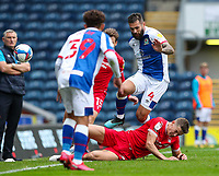 Nottingham Forest's Ryan Yates slides in on Blackburn Rovers' Bradley Johnson<br /> <br /> Photographer Alex Dodd/CameraSport<br /> <br /> The EFL Sky Bet Championship - Blackburn Rovers v Nottingham Forest - Saturday 17th October 2020 - Ewood Park - Blackburn<br /> <br /> World Copyright © 2020 CameraSport. All rights reserved. 43 Linden Ave. Countesthorpe. Leicester. England. LE8 5PG - Tel: +44 (0) 116 277 4147 - admin@camerasport.com - www.camerasport.com
