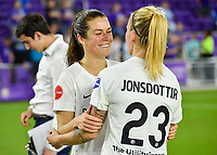 Orlando, FL - Saturday March 24, 2018: Utah Royals forward Kelley O'Hara (5) and Utah Royals Gunnhildur Jonsdottir (23) embrace after a regular season National Women's Soccer League (NWSL) match between the Orlando Pride and the Utah Royals FC at Orlando City Stadium. The game ended in a 1-1 draw.