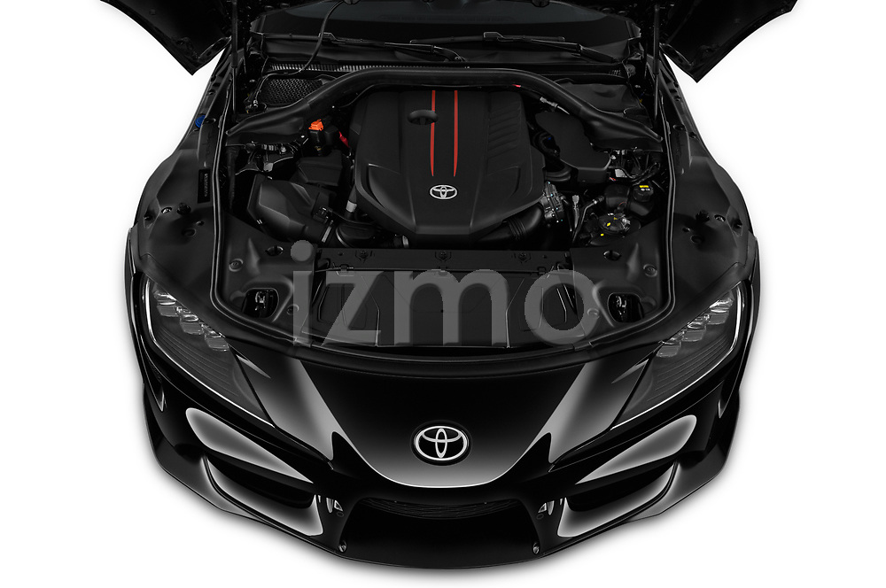 Car Stock 2020 Toyota GR-Supra Premium 2 Door Coupe Engine  high angle detail view