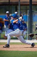 Toronto Blue Jays third baseman Nick Podkul (28) grounds out during a Florida Instructional League game against the Pittsburgh Pirates on September 20, 2018 at the Englebert Complex in Dunedin, Florida.  (Mike Janes/Four Seam Images)