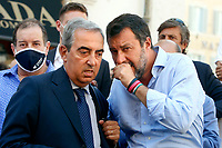 The Italian leader of the Lega party Matteo Salvini and the senator of Forza Italia party Maurizio Gasparri during demonstration of labour consultants against the Government in Montecitorio Square. Rome (Italy), July 29th 2020<br /> Photo Samantha Zucchi Insidefoto