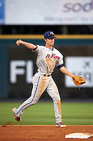 Fort Myers Miracle second baseman Ryan Walker (7) throws to first during a game against the Bradenton Marauders on April 9, 2016 at McKechnie Field in Bradenton, Florida.  Fort Myers defeated Bradenton 5-1.  (Mike Janes/Four Seam Images)