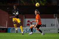 2nd October 2020; Tannadice Park, Dundee, Scotland; Scottish Premiership Football, Dundee United versus Livingston; Marvin Bartley of Livingston clears from Ian Harkes of Dundee United