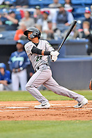 Augusta GreenJackets center fielder Jose Layer (22) swings at a pitch during a game against the Asheville Tourists at McCormick Field on April 4, 2019 in Asheville, North Carolina. The GreenJackets defeated the Tourists 9-5. (Tony Farlow/Four Seam Images)