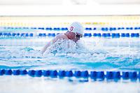 Santa Clara, California - Friday June 3, 2016: Abrahm DeVine races breaststroke during the Men's 400 LC Meter IM A final.
