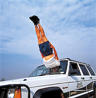 "Li Wei artwork named ""Liwei falls to the Car"" in Beijing...PHOTO BY SINOPIX"