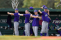 Kentucky Wesleyan Panthers players including Nathan Stemle (8) and Jeremy Cline (19) during a game against Slippery Rock University on March 9, 2015 at Jack Russell Stadium in Clearwater, Florida.  Kentucky Wesleyan defeated Slippery Rock 5-4.  (Mike Janes/Four Seam Images)