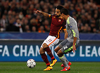 Calcio, andata degli ottavi di finale di Champions League: Roma vs Real Madrid. Roma, stadio Olimpico, 17 febbraio 2016.<br /> Roma's Mohamed Salah, left, is challenged by Real Madrid's Raphael Varane during the first leg round of 16 Champions League football match between Roma and Real Madrid, at Rome's Olympic stadium, 17 February 2016.<br /> UPDATE IMAGES PRESS/Riccardo De Luca