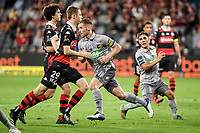 6th April 2021; Bankwest Stadium, Parramatta, New South Wales, Australia, Australian A League football, Western Sydney Wanderers versus Central Coast Mariners; Oliver Bozanic of Central Coast Mariners turns away to celebrate as he scores the penalty kick in the 83rd minute to make it 2-2