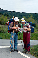 Pilger auf em Jokobsweg bei Ilurdotz, Navarra , Spanien