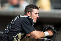 Wake Forest Demon Deacons catcher Ben Breazeale (9) prior to the game against the Clemson Tigers at David F. Couch Ballpark on March 12, 2016 in Winston-Salem, North Carolina.  The Tigers defeated the Demon Deacons 6-5.  (Brian Westerholt/Four Seam Images)