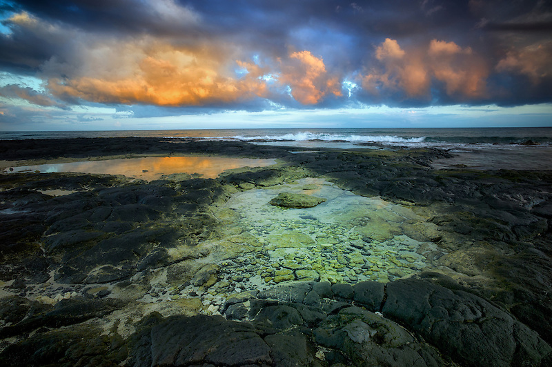Tidepools and sunrise  on the Kohala Coast. The Big Island, Hawaii.