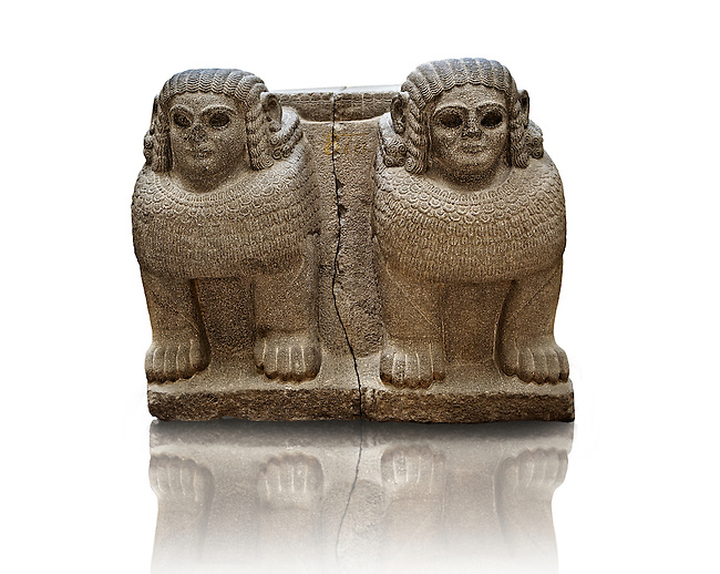 Late Hittite (Aramaean)  Basalt Double Sphinx  sculpture from 9th Cent B.C, excavated from the entrance of Palace III Sam'al (Hittite: Yadiya) located at Zincirli Höyük in the Anti-Taurus Mountains of modern Turkey's Gaziantep Province. Istanbul Archaeological Museum Inv. No 7731.