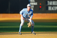 North Carolina Tar Heels third baseman Colin Moran (18) on defense against the Wake Forest Demon Deacons at Wake Forest Baseball Park on March 9, 2013 in Winston-Salem, North Carolina.  The Tar Heels defeated the Demon Deacons 20-6.  (Brian Westerholt/Four Seam Images)