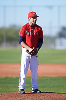 Marco Benavidez Jr (50), from Meridian, Idaho, while playing for the Cardinals during the Under Armour Baseball Factory Recruiting Classic at Red Mountain Baseball Complex on December 28, 2017 in Mesa, Arizona. (Zachary Lucy/Four Seam Images)