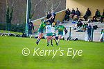 Jessica Fitzell of Kerry takes to the air against Meave Clince of Meath in the Camogie Intermediate Championship