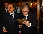 """SILVIO BERLUSCONI CON MARCELLO DELL'UTRI<br /> 75° COMPLEANNO DI LINO JANNUZZI - """"DA FORTUNATO AL PANTHEON"""" ROMA 2003"""