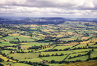 England, Offa's Dyke Footpath.  View east into Herefordshire  from Llanthony Trail Point, Hatterrall Ridge.