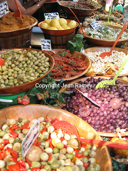 Olives in all shapes in sizes are sold at the Provence markets