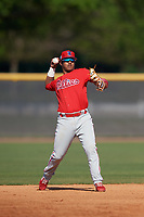 Philadelphia Phillies Brayan Gonzalez (38) during a Minor League Spring Training game against the New York Yankees on March 23, 2019 at the New York Yankees Minor League Complex in Tampa, Florida.  (Mike Janes/Four Seam Images)