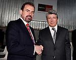 Atletico de Madrid's President Enrique Cerezo (r) and  Getafe's President Angel Torres, during Ceremony of Honoris Causa for Samaranch..(ALTERPHOTOS/Angel Rivero)
