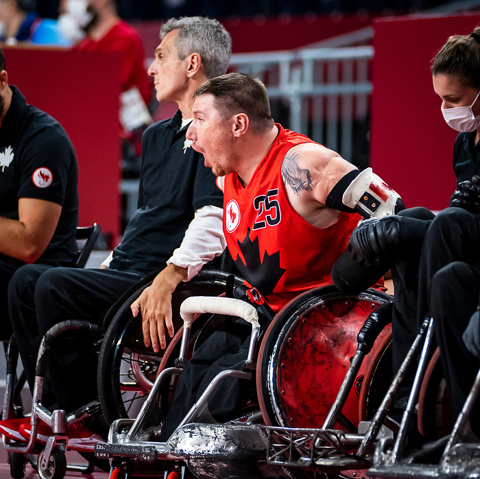 Shayne Smith, Tokyo 2020 - Wheelchair Rugby // Rugby en fauteuil roulant.<br /> Canada takes on Great Britain in the preliminary round // Le Canada affronte la Grande-Bretagne au tour préliminaire. 25/08/2021.