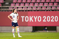 KASHIMA, JAPAN - AUGUST 2: Tierna Davidson #12 of the United States dejected after the penalty call after a game between Canada and USWNT at Kashima Soccer Stadium on August 2, 2021 in Kashima, Japan.