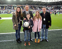 Swansea, UK Saturday 17 January 2015<br /> Matchball sponsors with Lee Trundle<br /> Barclays Premier League, Swansea City FC v Chelsea at the Liberty Stadium, south Wales, UK