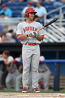 Auburn Doubledays outfielder Jeff Gardner (43) at bat during a game against the Batavia Muckdogs on August 31, 2014 at Dwyer Stadium in Batavia, New York.  Batavia defeated Auburn 7-6.  (Mike Janes/Four Seam Images)