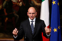 Il Presidente del Consiglio Enrico Letta parla durante l'incontro con una delegazione di esponenti della Comunità ebraica di Roma e di ex deportati nei campi di sterminio, a Palazzo Chigi, Roma, 14 ottobre 2013.<br /> Italian Premier Enrico Letta speaks during a meeting with Rome's Jewish Community representatives and survivors from nazi lagers, at Chigi Palace, Rome, 14 October 2013.<br /> UPDATE IMAGES PRESS/Isabella Bonotto