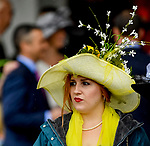 LOUISVILLE, KY - MAY 05: A woman wears a fancy hat during an undercard race on Kentucky Derby Day at Churchill Downs on May 5, 2018 in Louisville, Kentucky. (Photo by Jessica Morgan/Eclipse Sportswire/Getty Images)
