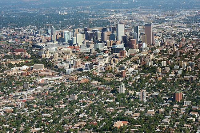 Downtown Denver skyline aerial looking northwest.  Sept 2, 2013. 82402