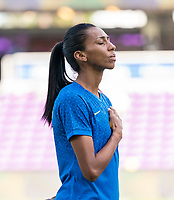 ORLANDO, FL - FEBRUARY 24: Bruna #3 of Brazil stands during her national anthem before a game between Brazil and Canada at Exploria Stadium on February 24, 2021 in Orlando, Florida.