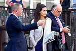Sep 22: Trainer Chad Brown and Charlotte Clement discussing race day topics at Belmont Park in Elmont, N.Y. on Jockey Gold Cup day. [Dan Heary/Eclipsesportswire/CSM].