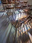 Chairs and light, St. Basil of Ostrog Serbian Orthodox Church, founded 1910, Angels Camp, Calif.