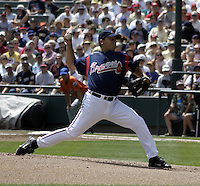 March 27, 2004:  Pitcher Ramon Ortiz of the Atlanta Braves organization during Spring Training at Wide World of Sports in Orlando, FL.  Photo copyright Mike Janes/Four Seam Images