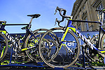 Movistar Team Canyon bikes on the team car at sign on before the start of the 113th edition of the Paris-Roubaix 2015 cycle race held over the cobbled roads of Northern France. 12th April 2015.<br /> Photo: Eoin Clarke www.newsfile.ie