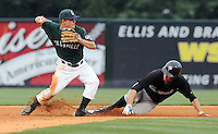 July 5, 2009: Second baseman Zach Gentile (7) of the Greenville Drive forces Stefan Welch (5) of the Savannah Sand Gnats out at second base in a game at Fluor Field at the West End in Greenville, S.C. Photo by: Tom Priddy/Four Seam Images