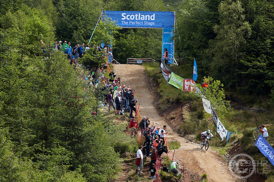 Tracy Moseley riding a Trek bike , World Cup  Downhill Mountain Bike , Fort William , Scotland  June 2011 pic copyright Steve Behr / Stockfile